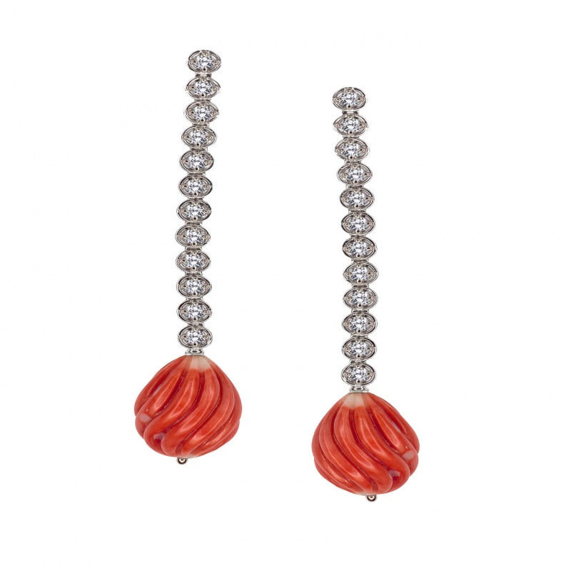 Gumuchian coral and diamond line earrings