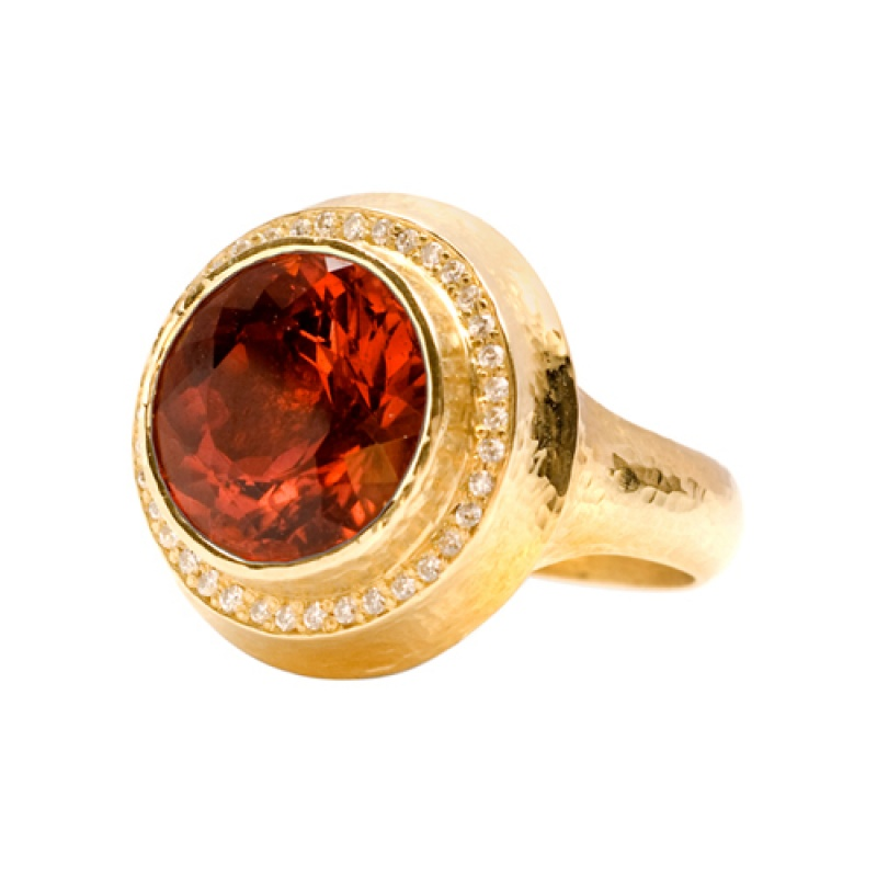 Pampillonia Designs hammered peach tourmaline ring