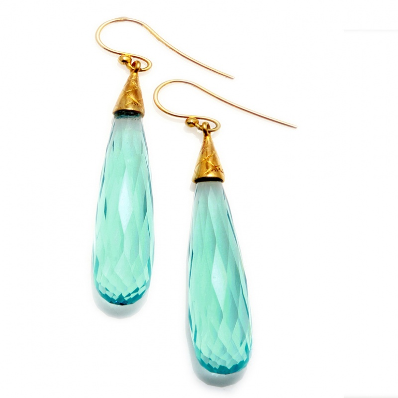 Athra blue resin bulb earrings