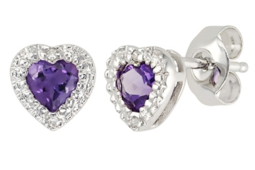 Ital-Can amethyst heart earrings