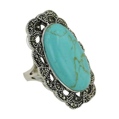 Vera and Co. turquoise and marcasite ring