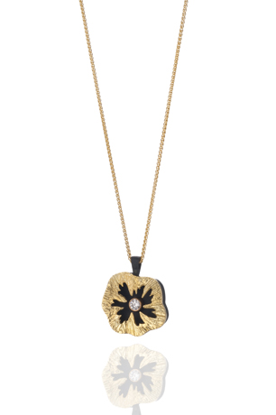 Sarah Graham Metalsmithing 18k gold, cobalt chrome, and diamond Sea Urchin necklace
