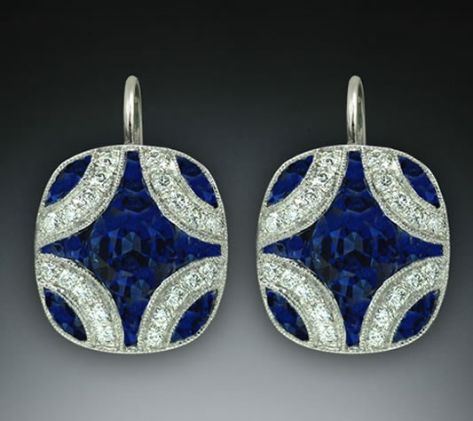Michael Schofield platinum sapphire drop earrings