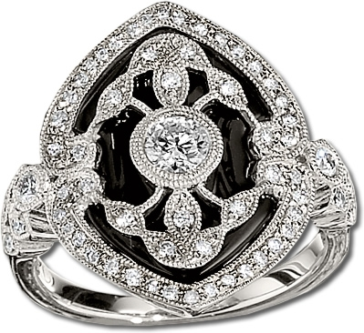 Gottlieb & Sons onyx filigree ring