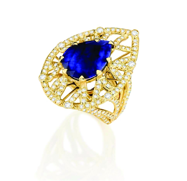 Goldesign pear-shape sapphire ring