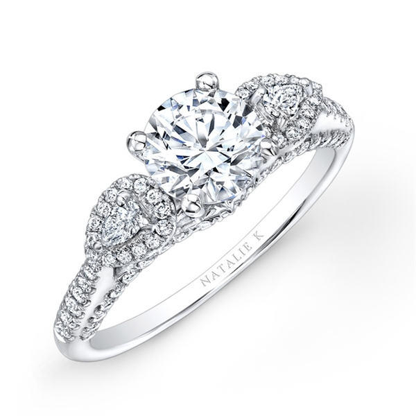 Natalie K round and pear diamond engagement ring
