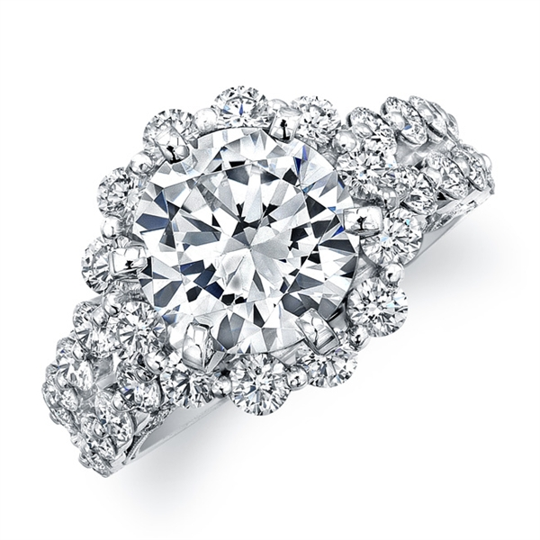Natalie K spaced diamond halo engagement ring