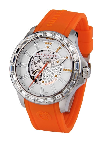 Charles Hubert orange silicon strap watch