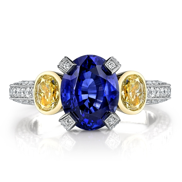 Omi Prive sapphire and yellow diamond ring