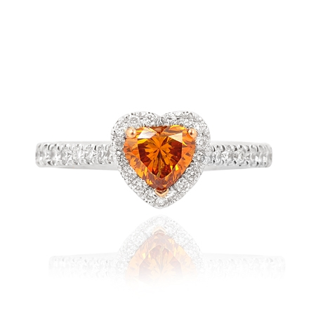 Leibish & Co. orange diamond heart ring