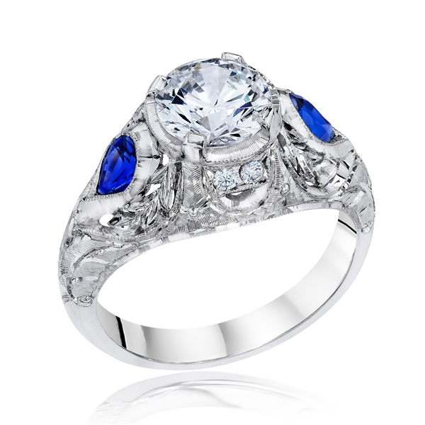 Whitehouse Brothers sapphire accent engagement ring