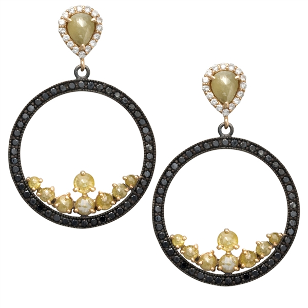 ZDNY black and natural diamond earrings