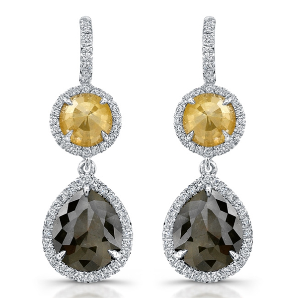 Rahaminov yellow and black diamond earrings