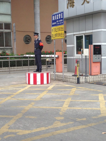 Guard at the entrance of the Lorenzo factory