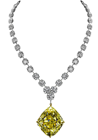 Jacob & Co. platinum riviere necklace with rhomboid-shape fancy intense yellow diamond drop
