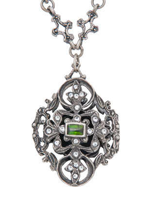 Just Jules silver vintage locket with white sapphires and green tourmaline