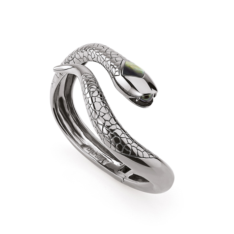 Snake bracelet in silver with pearls from Misaki