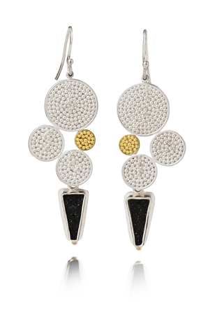Earrings in argentium silver with 18k and 22k gold by Patricia Tschetter