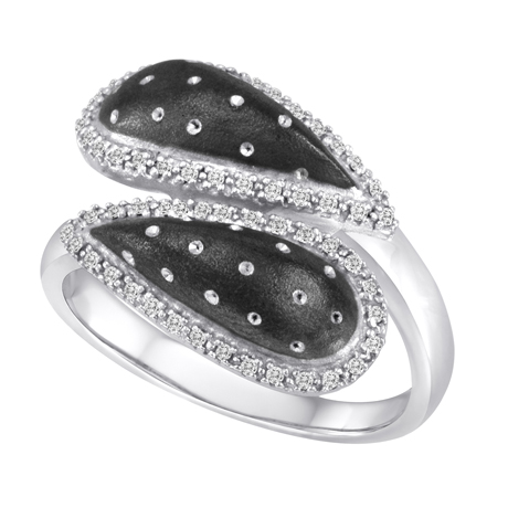 Ring in silver with diamonds and black rhodium by Revabella
