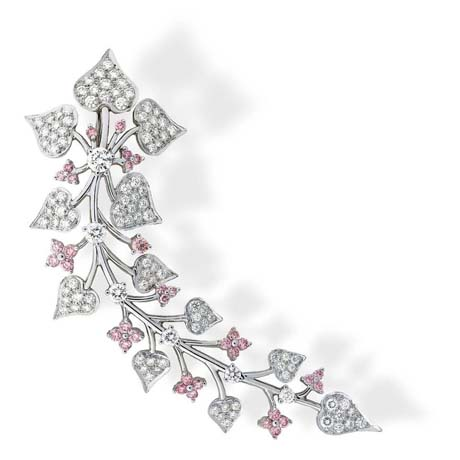 Suna Brothers platinum pin with colorless and natural color pink diamonds