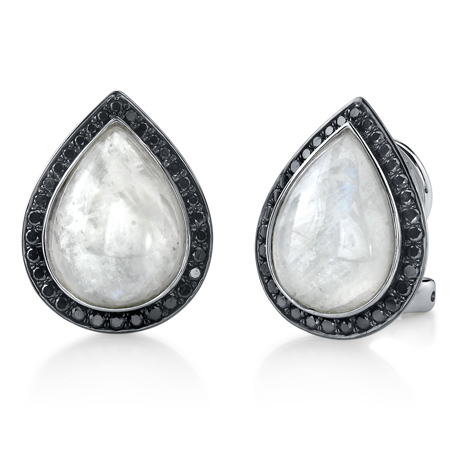 Earrings in 14k gold with moonstone and black diamonds by Sylvie Collection