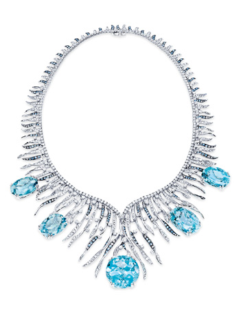 Lorenzo aquamarine and diamond necklace