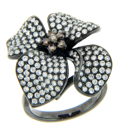 Michael John Jewelry diamond and black rhodium gold ring