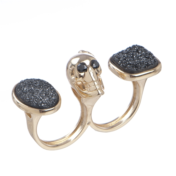 Marcia Moran skully and druzy two-finger ring