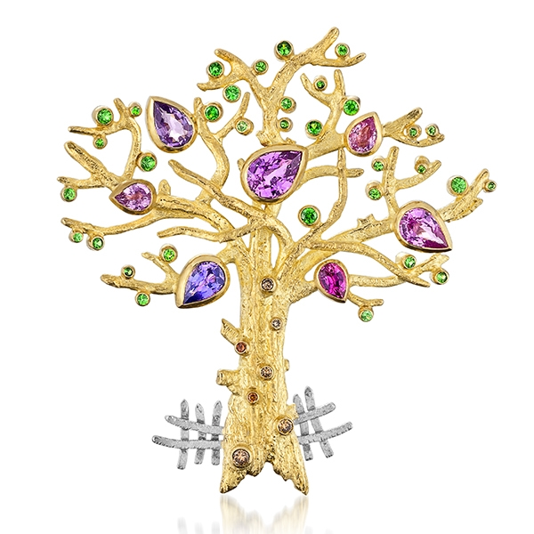 Cornelia Goldsmith multicolor gemstone tree brooch