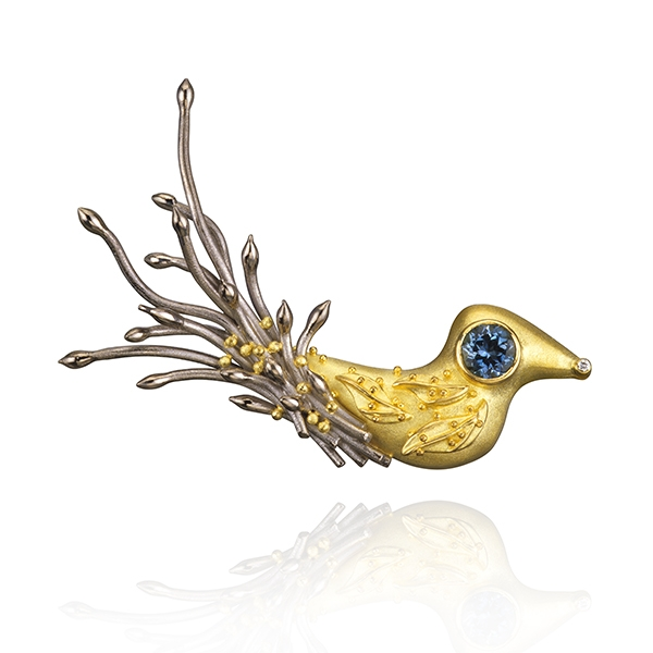 Cornelia Goldsmith aquamarine bird brooch