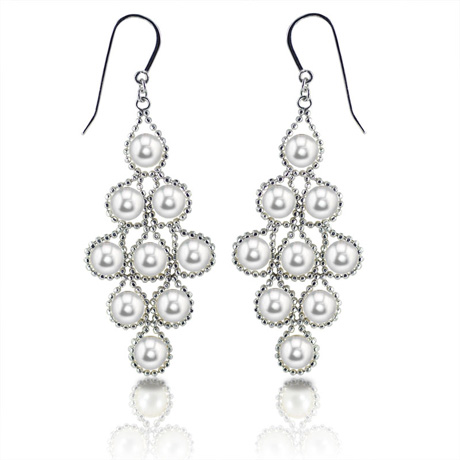 Silver chandeleier earrings with freshwater pearls by Imperial