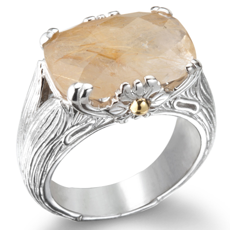 Ariva silver ring with rutilated quartz