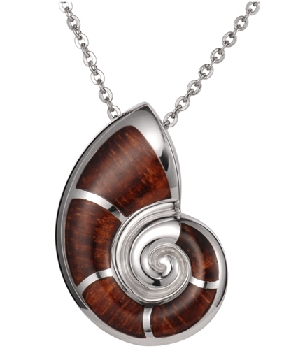 Alamea Hawaii wood nautilus pendant