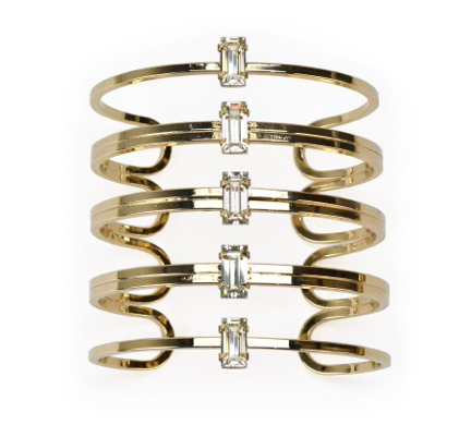 Susan Hanover 14k gold-plated brass cuff with Swarovski crystals
