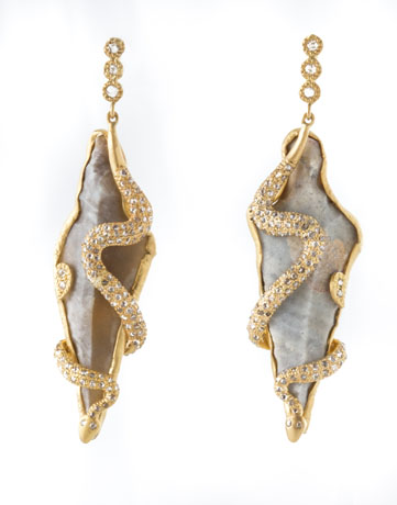 Coomi diamond and antique arrowhead earrings in 20k gold