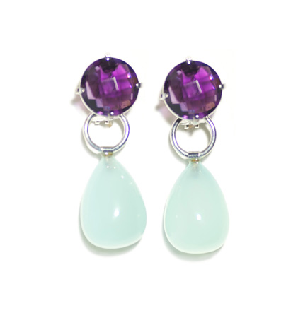Elena Kriegner silver earrings with amethyst and chalcedony