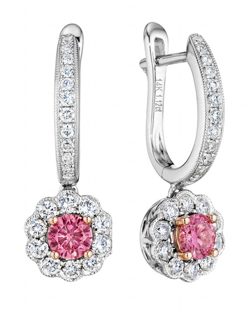 Color-enhance pink diamond earrings from the Fiamma collection by Kama Schachter