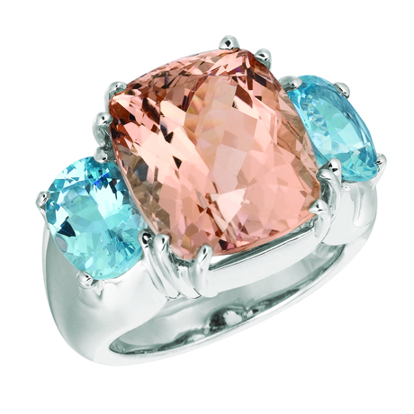 Gemveto ring with morgantie and aqua