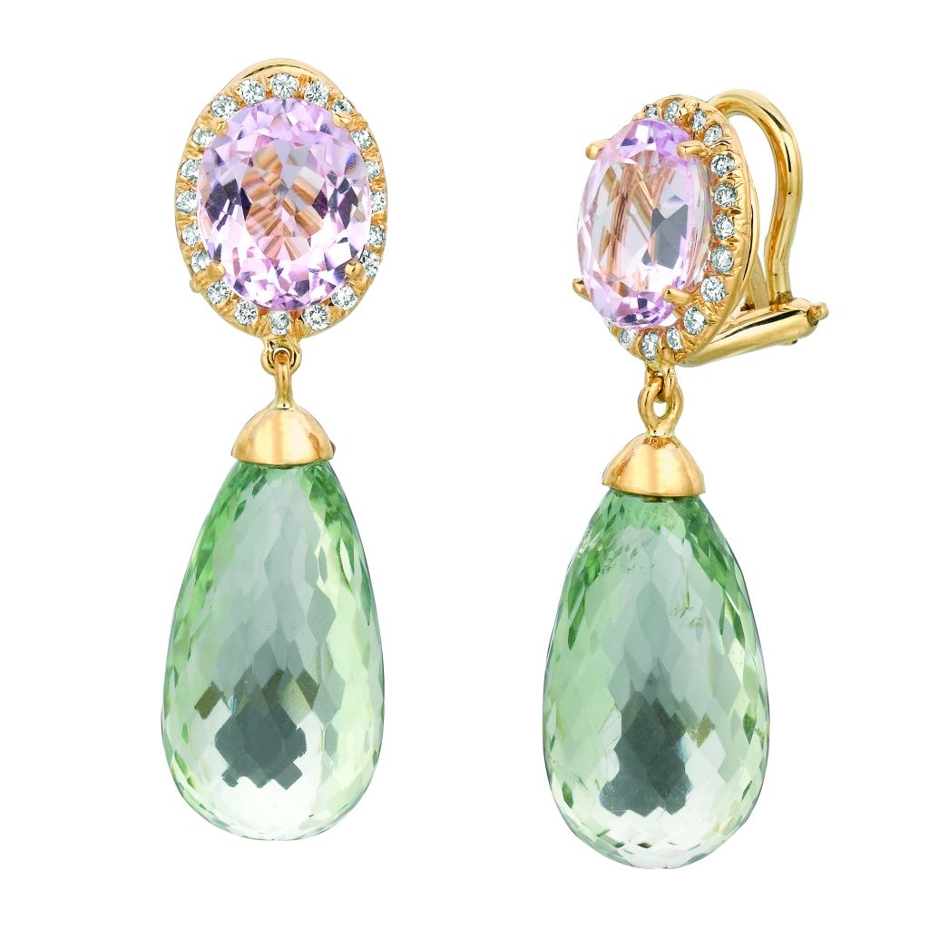 Gemveto kunzite and green amethyst earrings with diamonds