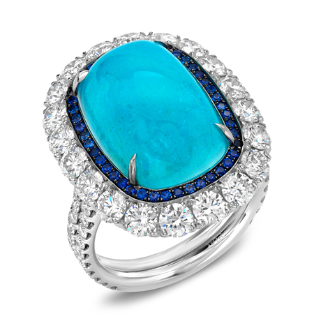 Tamir Jewels ring in platinum with Paraiba tourmaline, diamonds, and sapphires