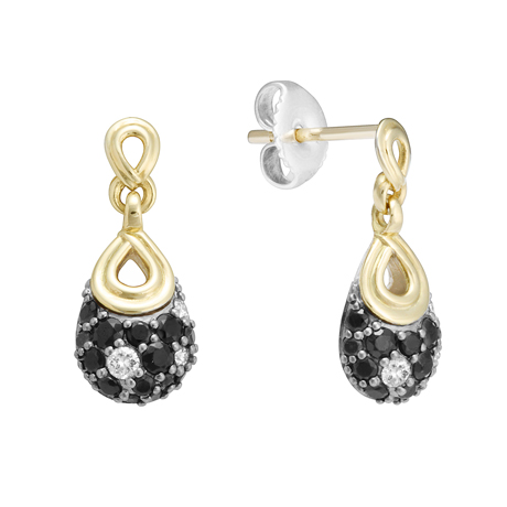 Lagos earrings in silver and 18k gold with black spinel and diamonds