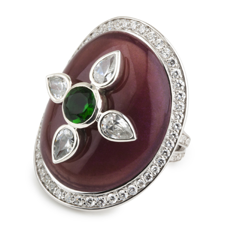 Miriam Salat ring in silver with resin and CZ