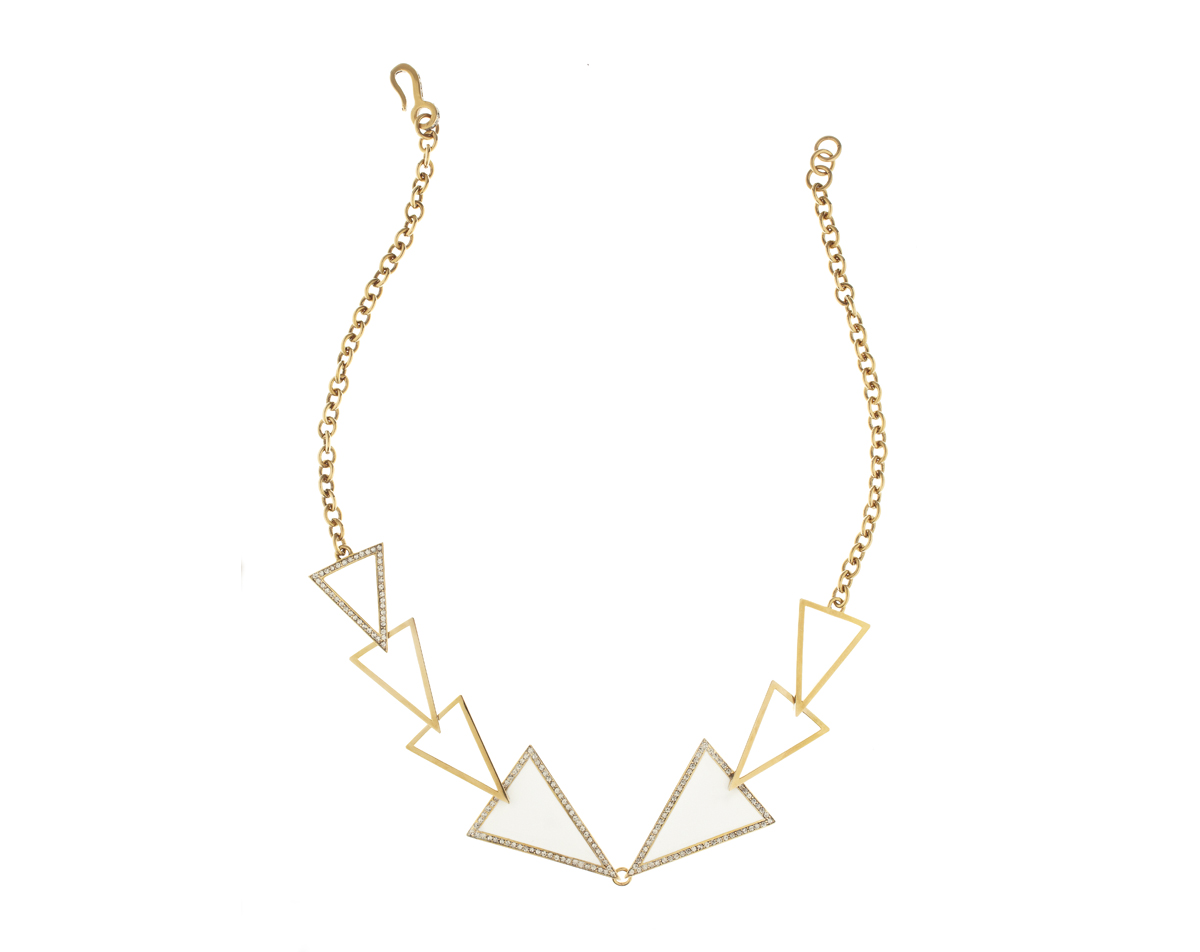 Paige Novick gold-plated brass necklace with white enamel and Swarovski crystals