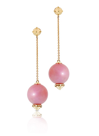 Philipps House pink opal and gold chain drop earrings