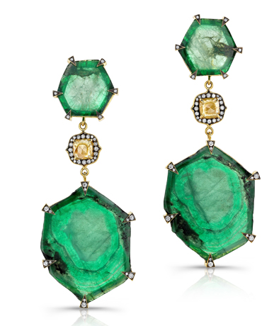 Sylva & Cie emerald drop earrings