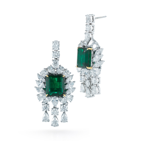 Takat emerald and diamond earrings