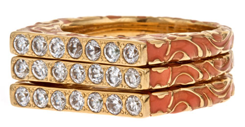 Isharya rings in 18k gold-plated bronze with CZ