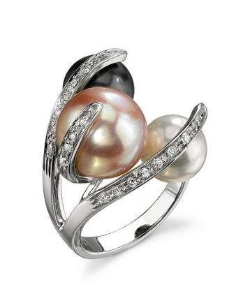 A&Z Pearls tri-color pearl ring