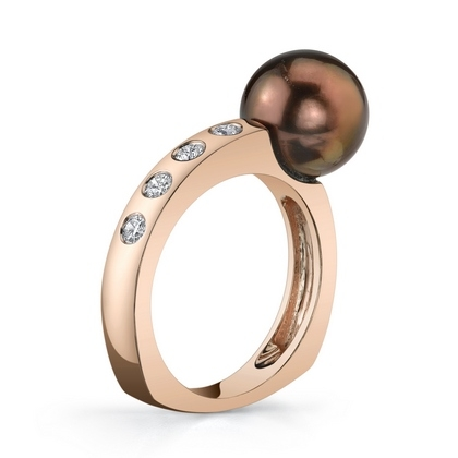 A&Z Pearls chocolate Tahitian ring