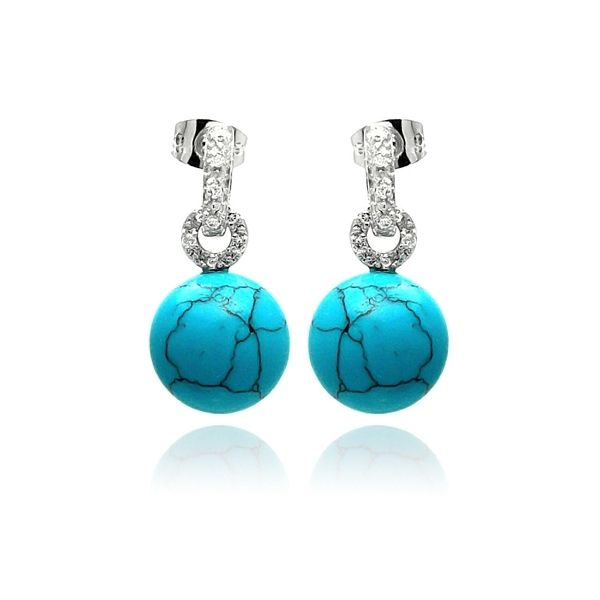Silver Palace turquoise bead drop earrings